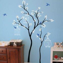 Adesivo de parede árvore com gaiolas e pássaros