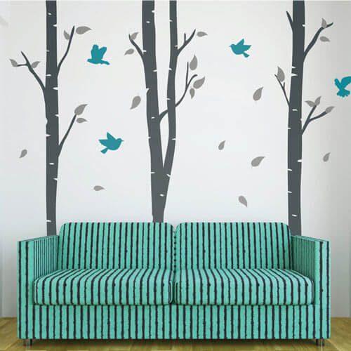 Adesivo de parede árvores finas com pássaros