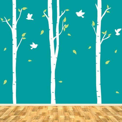Adesivo de parede árvores grandes com pássaros