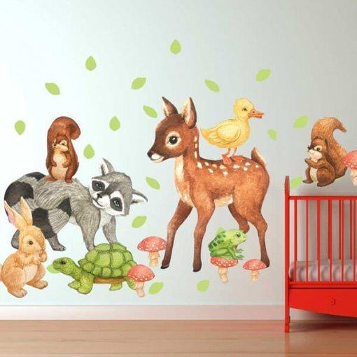 Adesivo de parede bichinhos da floresta em aquarela