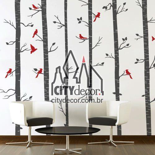 Adesivo de parede árvores na floresta e pássaros