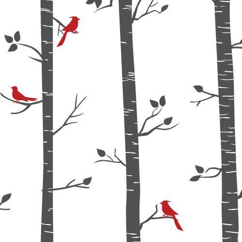 Adesivo de parede árvores altas e pássaros