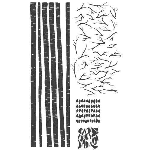 Cartela adesivo floresta e pássaros