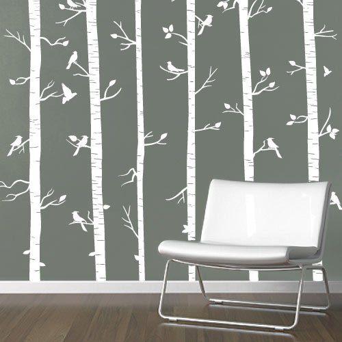 Adesivo de parede árvores e passarinhos