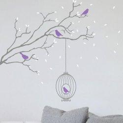 Adesivo de parede galho com folhas caindo e passarinhos