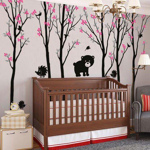 Adesivo de parede infantil árvores com ursinho e passarinhos