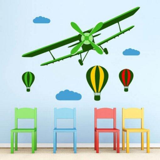Adesivo de parede infantil aviões e balões