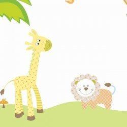 Adesivo de parede infantil girafa e leão