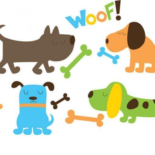 Adesivo de parede infantil cachorros coloridos