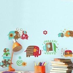 Adesivo de parede infantil elefantes estampados