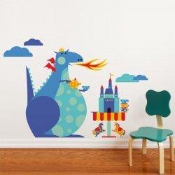 Adesivo de parede infantil parabéns do dragão