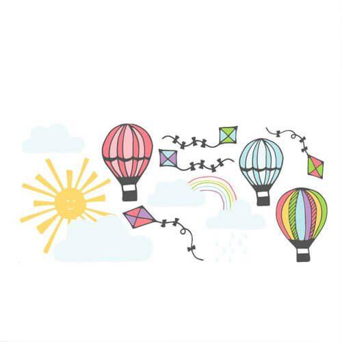 Adesivo de parede infantil pipas e balões