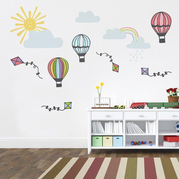 Adesivo De Parede Infantil Nuvens ~ Adesivo de parede infantil pipas e balões City Decor