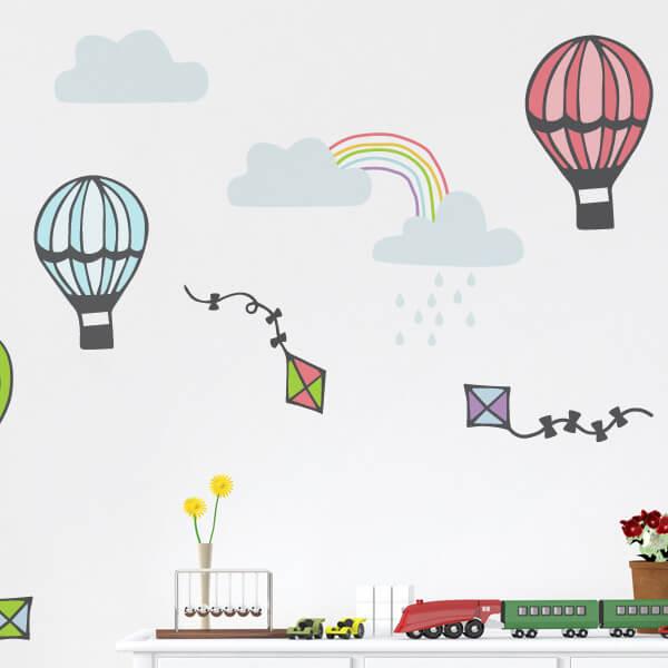 Aparador Tok Stok Preto ~ Adesivo de parede infantil pipas e balões City Decor