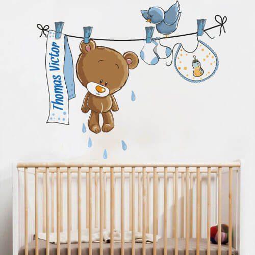 Adesivo de parede personalizado com nome do bebê