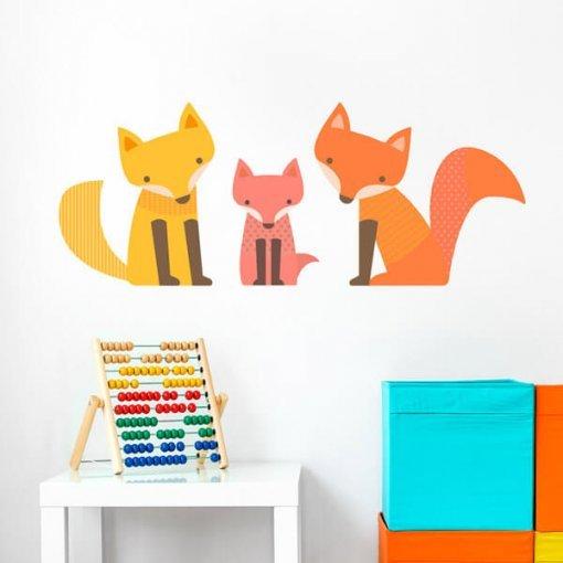 Adesivo de parede raposinha em família