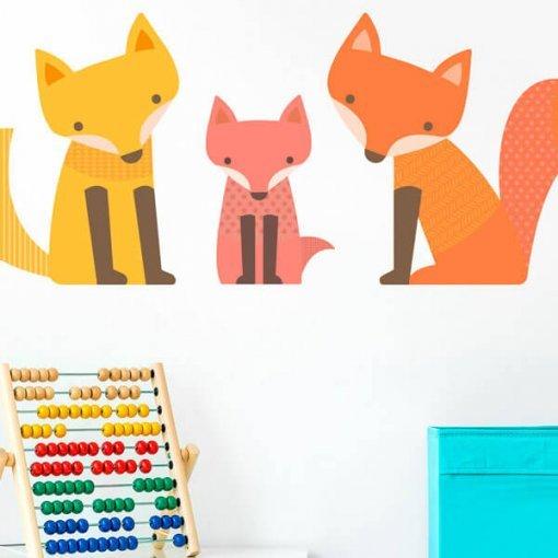 Adesivo para quarto do bebê família raposa