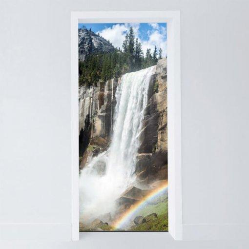 Adesivo para porta cachoeira e arco-íris