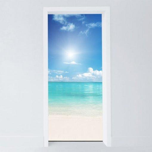 Adesivo para porta praia tranquila