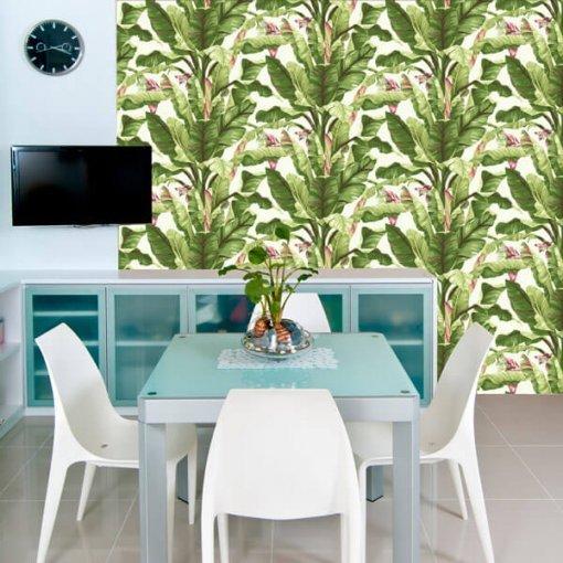 Adesivo papel de parede bananal tropical