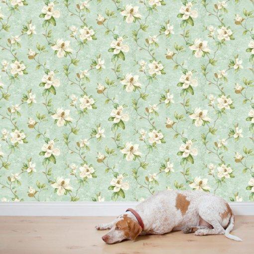 Papel de parede floral magnólias