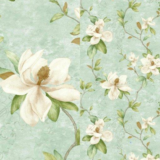Papel de parede floral magnólias branca