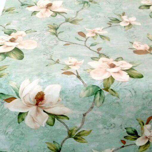Adesivo papel de parede floral magnólias fundo verde