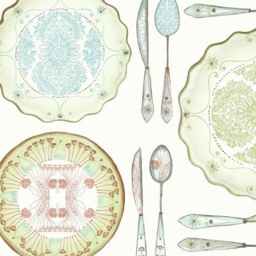 Papel de parede pratos e talheres