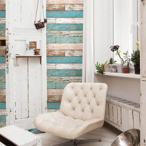 Adesivo papel de parede madeira mix azul