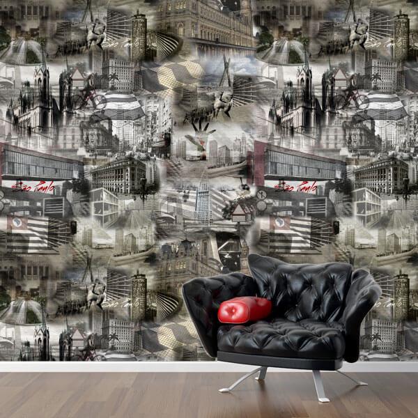 Adesivo papel de parede cidade de S u00e3o Paulo City Decor