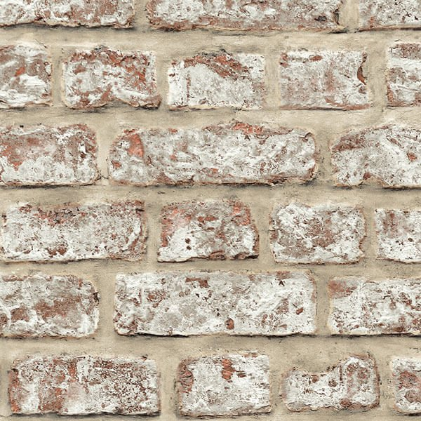 Adesivo papel de parede tijolo r stico creme city decor for Papel de pared rustico