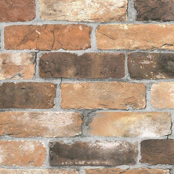 Adesivo papel de parede tijolo r stico city decor for Papel de pared rustico