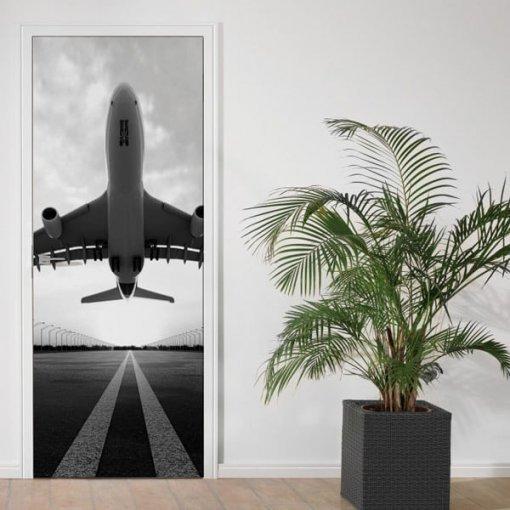 Adesivo de porta avião decolando - preto e branco