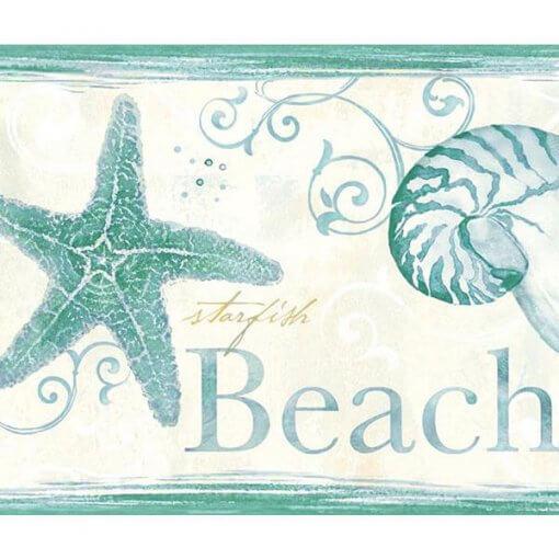 Faixa decorativa cavalos marinhos e conchas verde
