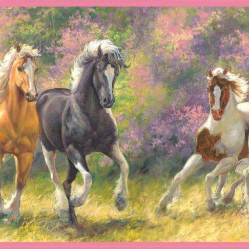 Faixa decorativa cavalos no campo
