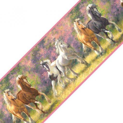 Faixa decorativa de parede cavalos no campo