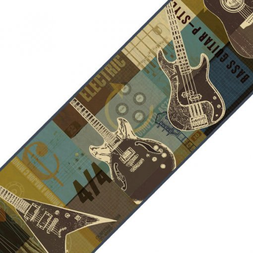 Faixa decorativa de parede Guitarras
