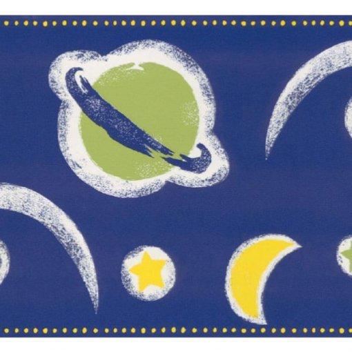 Faixa de parede infantil planetas e cometas