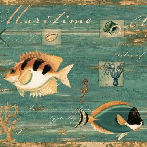 Faixa decorativa de parede Peixes Marinhos