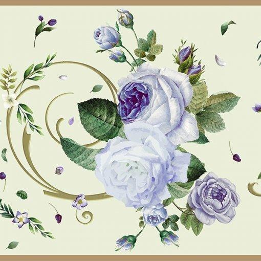 Faixa de parede floral rosas azuis