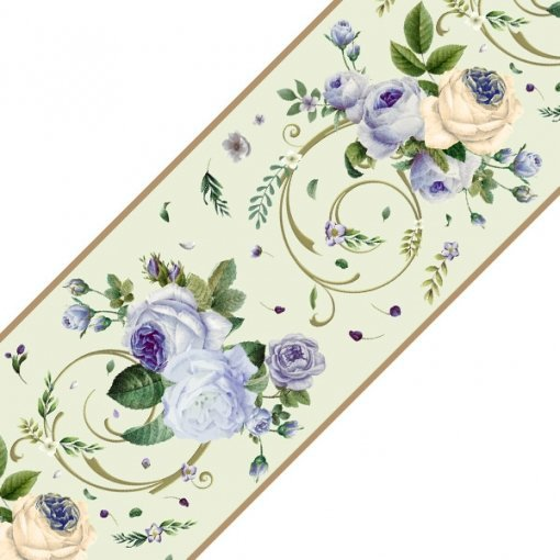 Faixa decorativa floral rosas azuis