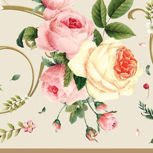 Faixa decorativa floral rosas sortidas fundo bege