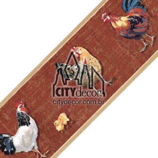 Faixa decorativa de parede galinha com pintinhos