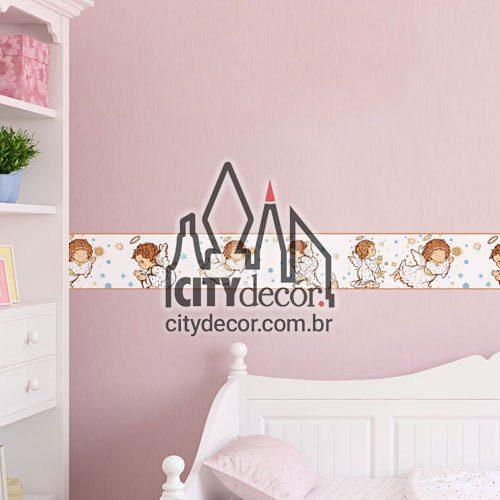 Faixa decorativa infantil anjinhos da guarda