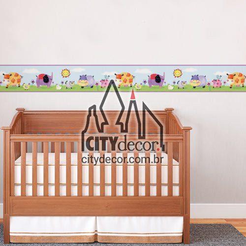 Faixa para quarto de bebê Bichinhos em aquarela