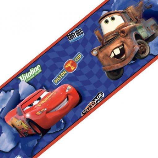 Faixa decorativa de parede Carros Disney azul e vermelho