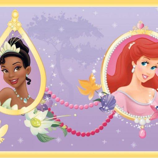Faixa de parede infantil Princesas Disney - lilás