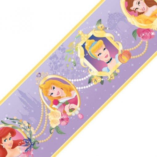 Faixa decorativa de parede infantil Princesas Disney - lilás