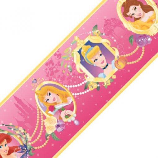 Faixa decorativa de parede infantil Princesas Disney - pink