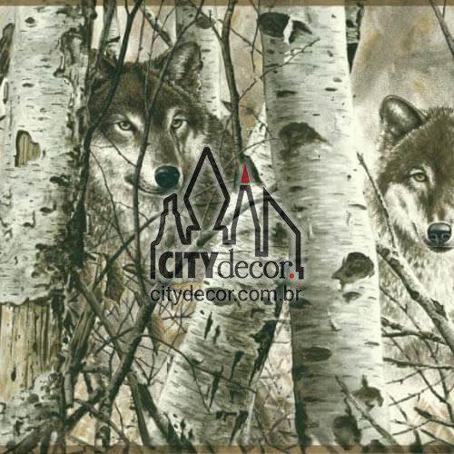 Faixa de parede border Lobos na floresta